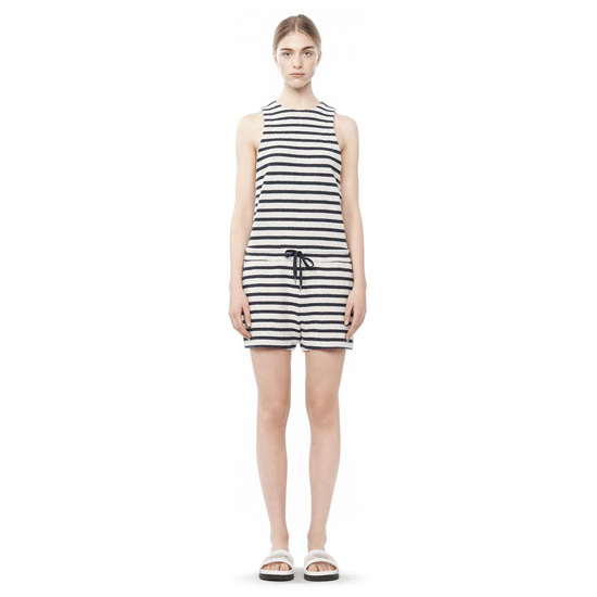 BLUEMULTI ALEXANDER WANG STRIPED FRENCH TERRY ROMPER Outlet Online