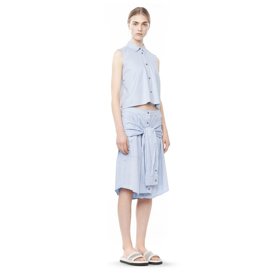 SKY BLUE ALEXANDER WANG COTTON POPLIN SLEEVE TIED SKIRT Outlet Online