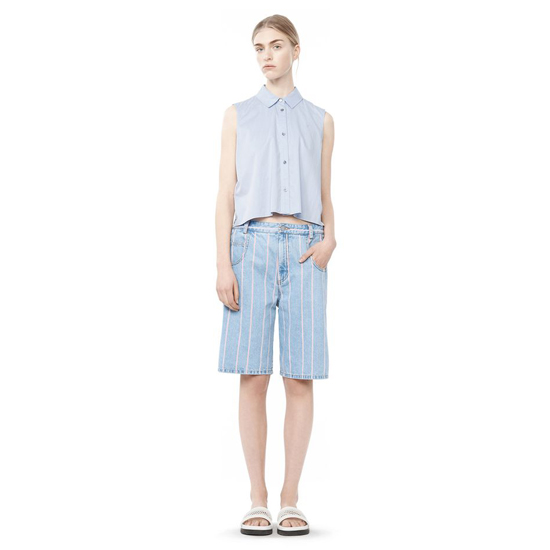 SKY BLUE ALEXANDER WANG COTTON POPLIN CROPPED SHIRT Outlet Online