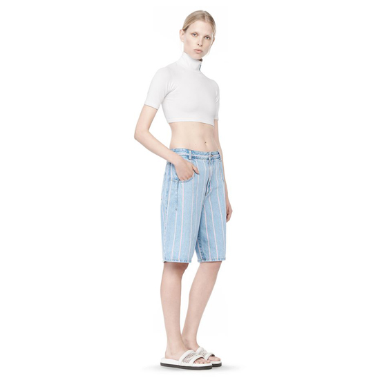 LIGHT BLUE ALEXANDER WANG STRIPED DENIM SKATER SHORTS Outlet Online