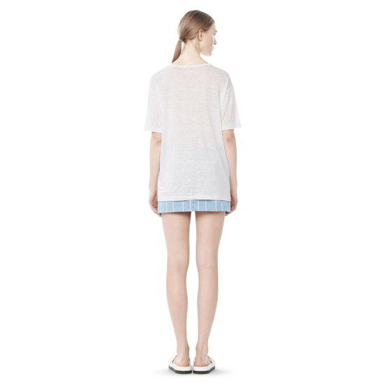 WHITE ALEXANDER WANG LINEN SILK OVERSIZED TEE Outlet Online