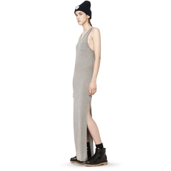 ASH GRAY ALEXANDER WANG CLASSIC TANK DRESS WITH CHEST POCKET Outlet Online