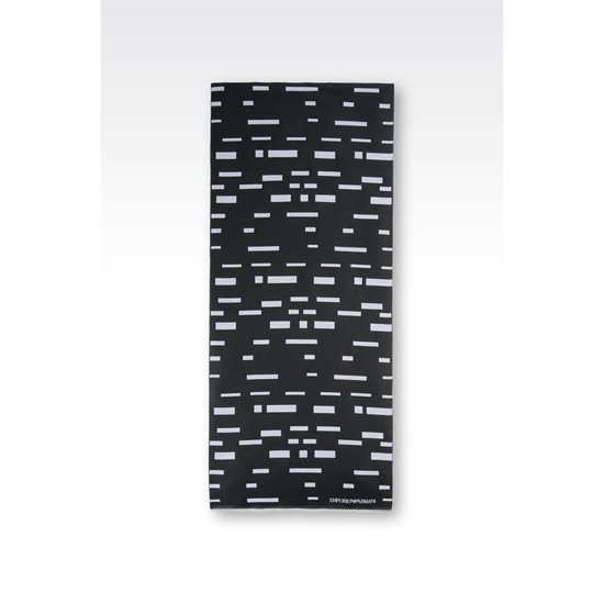 ARMANI SCARF IN PIXEL PRINT COTTON BLEND Outlet Online