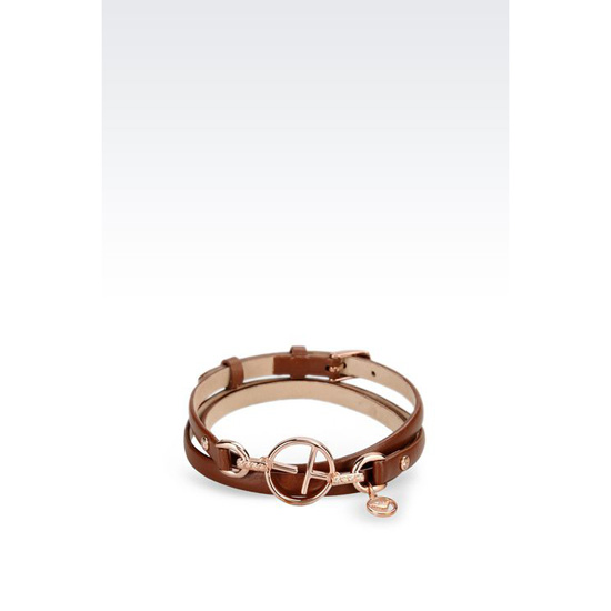 ARMANI LEATHER BRACELET WITH ROSE GOLD-PLATED CHARM Outlet Online