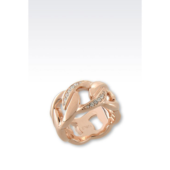 ARMANI RING IN ROSE GOLD-PLATED STEEL AND CRYSTALS Outlet Online