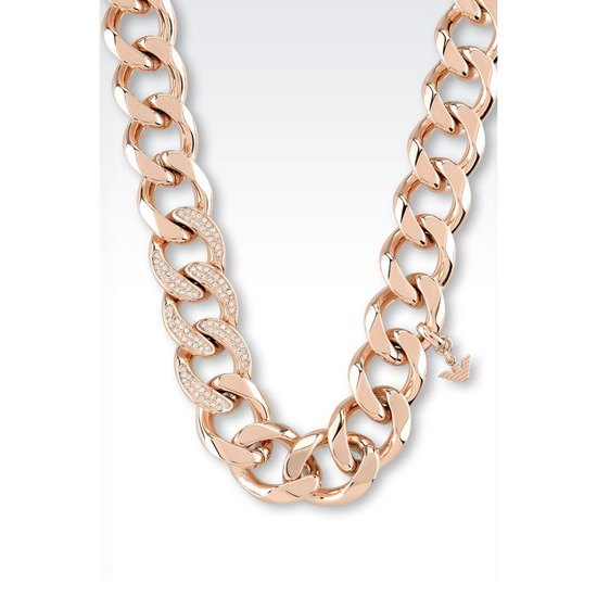 ARMANI NECKLACE IN ROSE GOLD-PLATED STEEL AND CRYSTALS Outlet Online