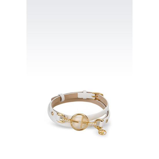 ARMANI LEATHER BRACELET WITH GOLD-PLATED CHARM Outlet Online