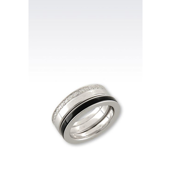 ARMANI RING IN SILVER AND ONYX Outlet Online