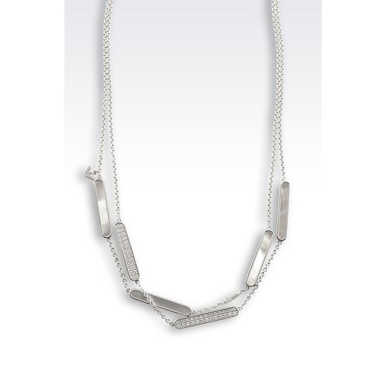 ARMANI NECKLACE IN SILVER AND MOTHER-OF-PEARL Outlet Online