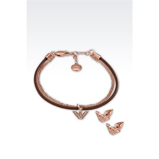 ARMANI BRACELET AND EARRINGS IN ROSE GOLD-PLATED SILVER Outlet Online