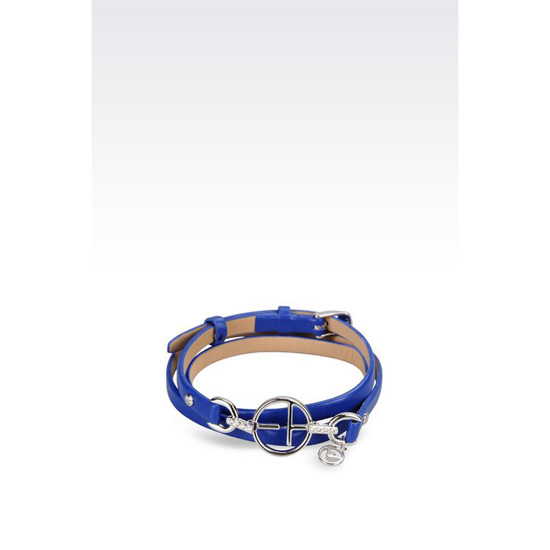 ARMANI LEATHER BRACELET WITH STERLING SILVER CHARM Outlet Online
