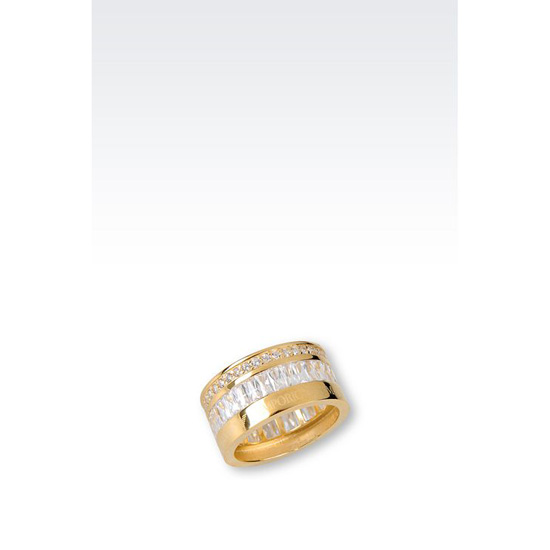 ARMANI RING IN GOLD-PLATED SILVER AND CZ STONES Outlet Online
