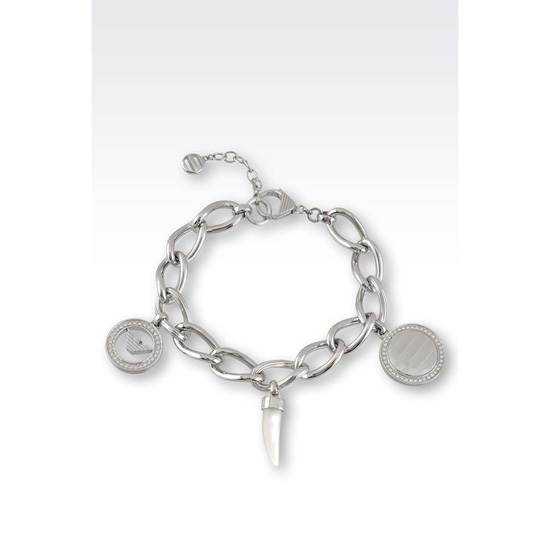 ARMANI BRACELET IN STEEL,CRYSTALS AND MOTHER OF PEARL Outlet Online