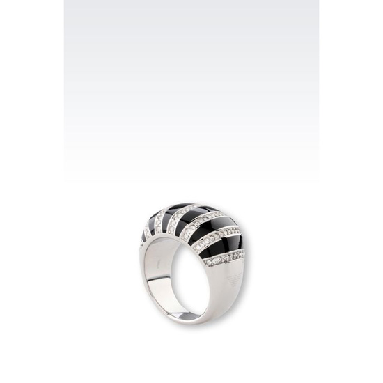 ARMANI RING IN STEEL AND RESIN Outlet Online