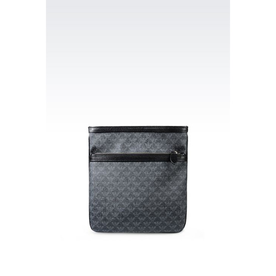 ARMANI FLAT MESSENGER BAG IN LOGO PVC AND SAFFIANO CALFSKIN Outlet Online