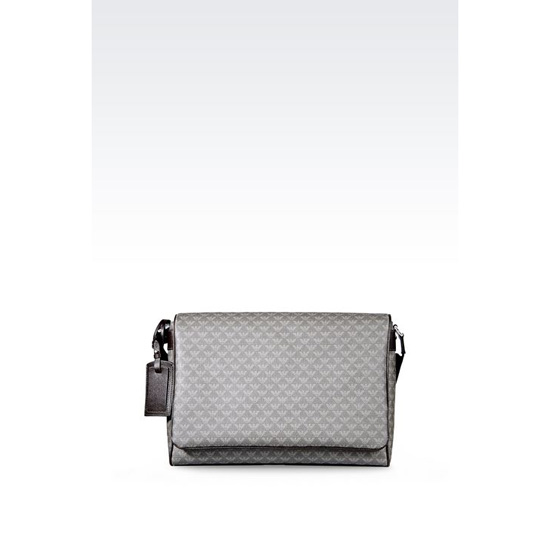ARMANI MESSENGER BAG IN LOGO PVC AND SAFFIANO CALFSKIN Outlet Online
