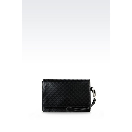 ARMANI MONEY BAG IN LOGO PATTERNED CALFSKIN Outlet Online