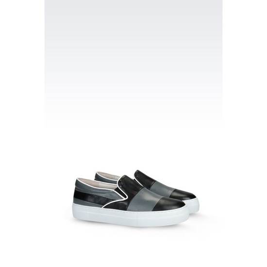 ARMANI SLIP-ON IN TWO-COLOUR NAPA LEATHER Outlet Online