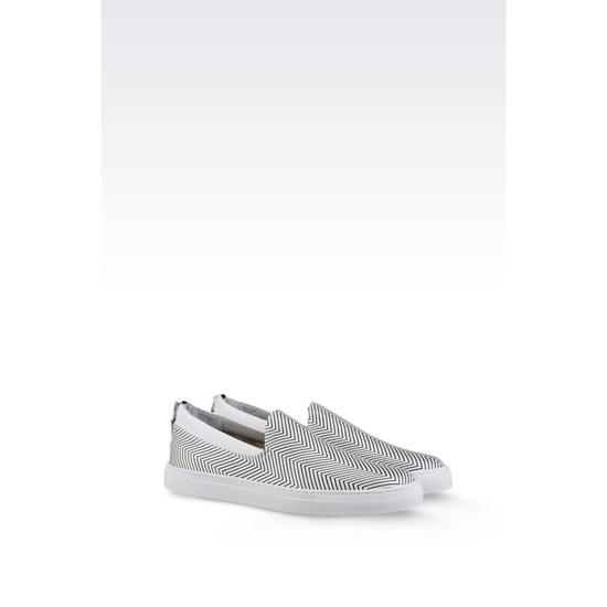 ARMANI SLIP-ON IN CHEVRON CALFSKIN Outlet Online