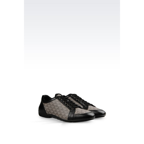 ARMANI SNEAKER IN NAPA LEATHER AND LOGO PATTERNED PVC Outlet Online