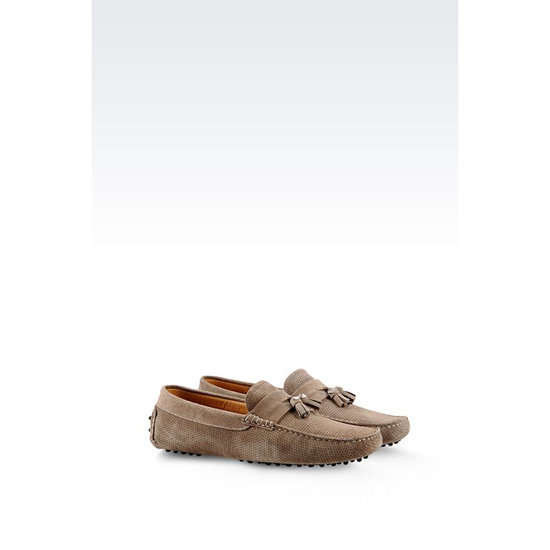 ARMANI DRIVING SHOE IN MICRO PERFORATED SUEDE WITH TASSELS Outlet Online