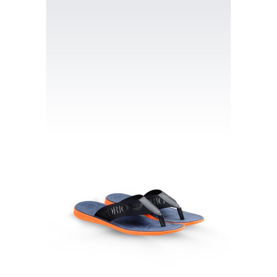 ARMANI CALFSKIN FLIP FLOP WITH RUBBER SOLE Outlet Online