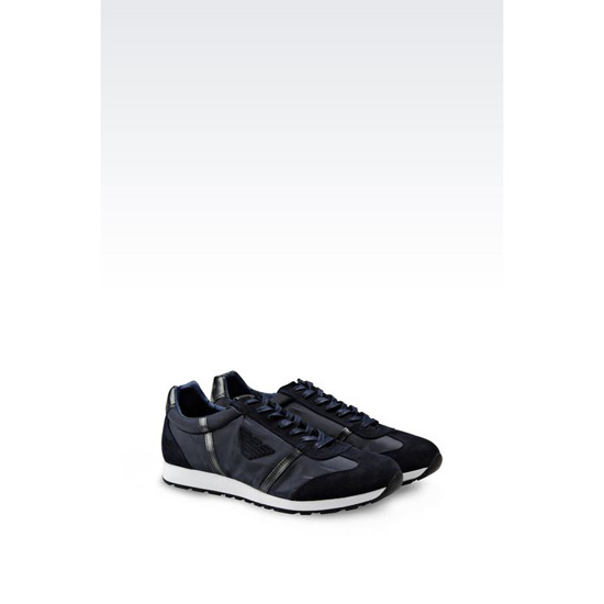 ARMANI SNEAKER IN CALFSKIN AND TECHNICAL FABRIC Outlet Online