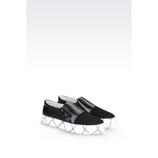 ARMANI RUNWAY SLIP-ON IN CALFSKIN AND MESH Outlet Online