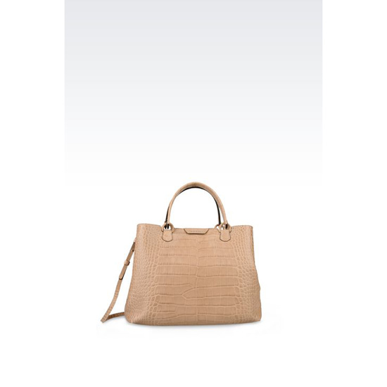 ARMANI MEDIUM SHOPPING BAG IN CROC PRINT CALFSKIN Outlet Online