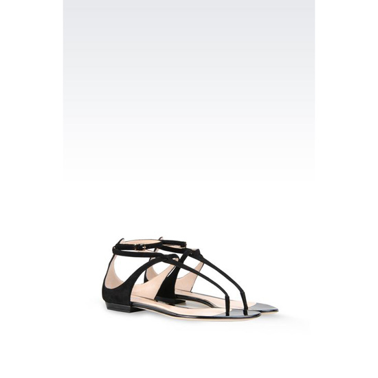 ARMANI TOE POST SANDAL IN SUEDE AND PATENT Outlet Online