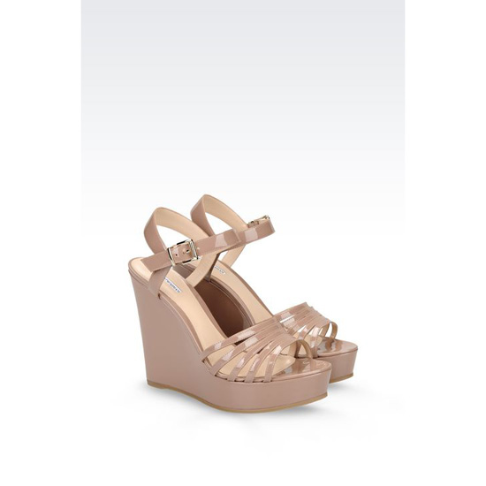 ARMANI WEDGE SANDAL IN PATENT Outlet Online