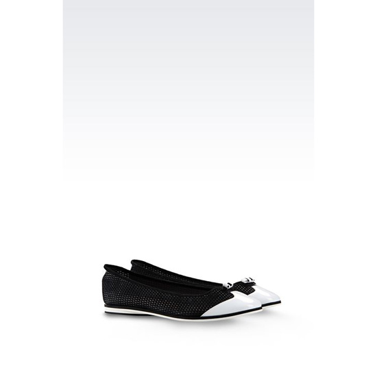 ARMANI TWO-COLOUR MESH EFFECT BALLET FLAT Outlet Online