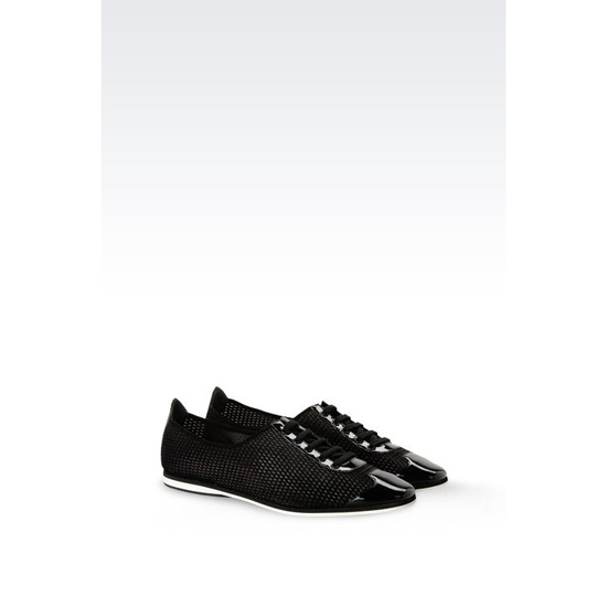 ARMANI LACE-UP IN MESH EFFECT FABRIC AND PATENT Outlet Online