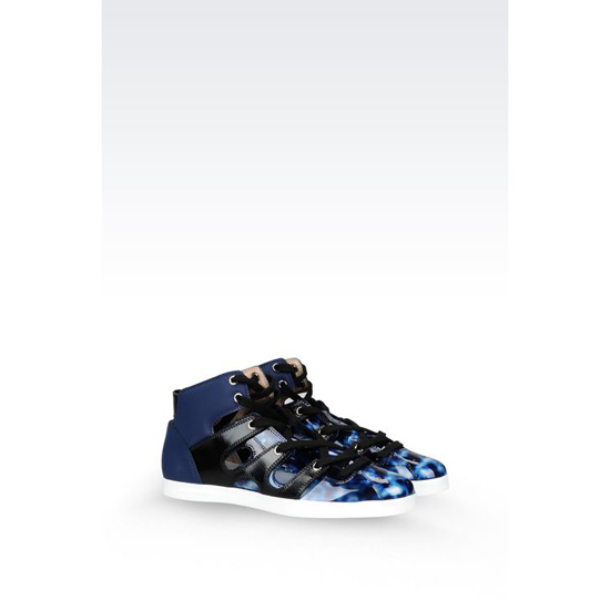 ARMANI SNEAKER IN CALFSKIN AND TORTOISESHELL PRINT PVC Outlet Online