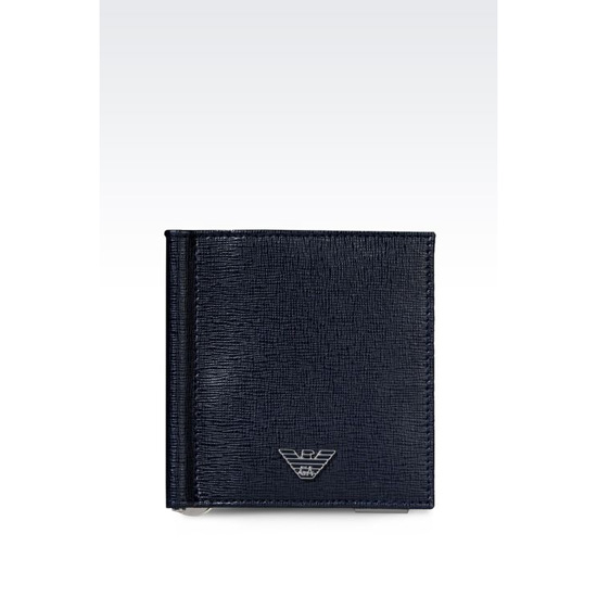 ARMANI BI-FOLD WALLET IN SAFFIANO CALFSKIN WITH MONEY CLIP Outlet Online