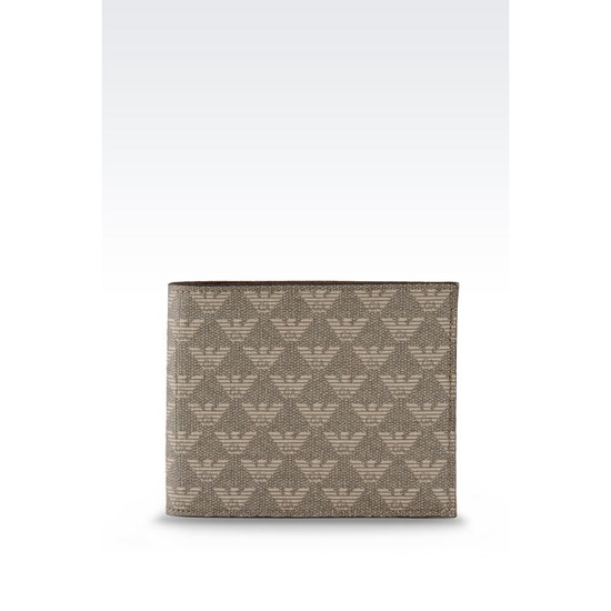 ARMANI BI-FOLD WALLET IN LOGOED SAFFIANO CALFSKIN AND PVC Outlet Online