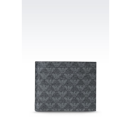 ARMANI BI-FOLD WALLET IN LOGO PATTERNED PVC Outlet Online
