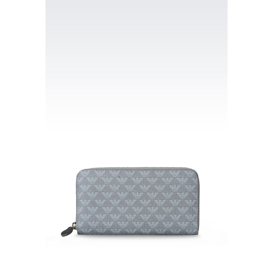 ARMANI ZIP-AROUND WALLET IN SAFFIANO AND LOGOED PVC Outlet Online