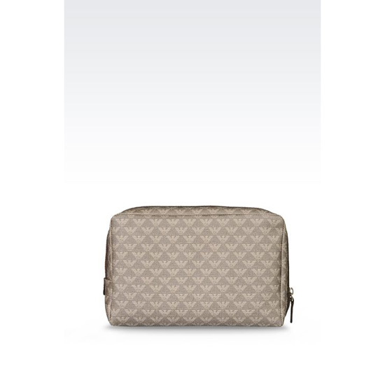 ARMANI LARGE COSMETICS CASE IN SAFFIANO AND LOGOED PVC Outlet Online