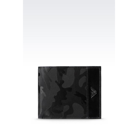 ARMANI BI-FOLD WALLET IN CAMOUFLAGE NYLON Outlet Online
