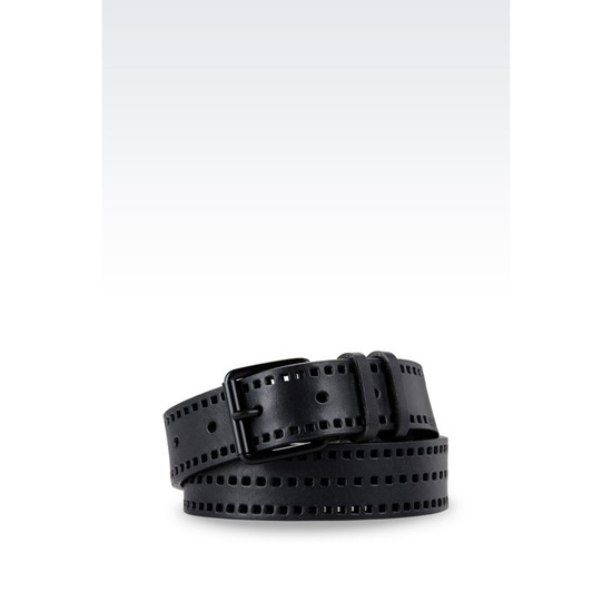 ARMANI RUNWAY BELT IN PERFORATED LEATHER Outlet Online