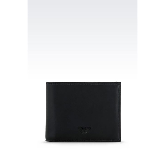 ARMANI BI-FOLD WALLET IN FAUX NAPA LEATHER Outlet Online