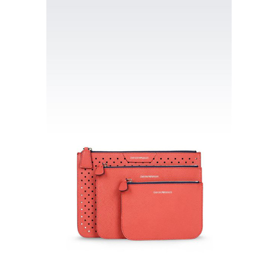 ARMANI SET OF POUCHES IN SAFFIANO CALFSKIN Outlet Online