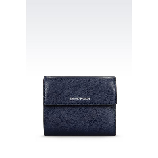 ARMANI TRI-FOLD WALLET IN SAFFIANO CALFSKIN Outlet Online