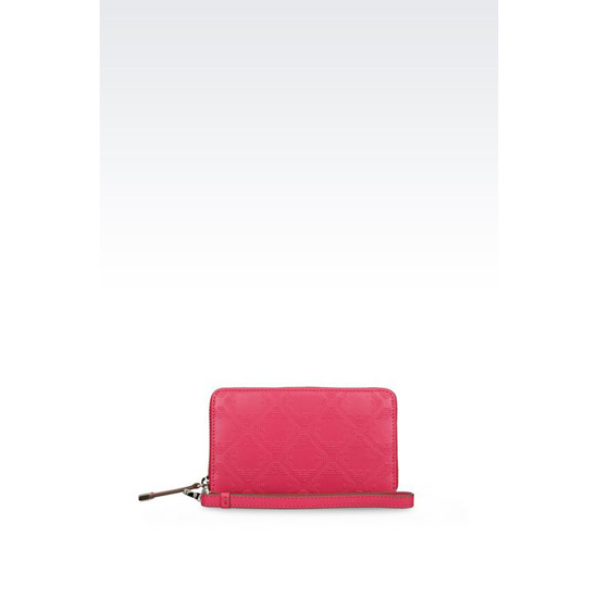 ARMANI ZIP AROUND WALLET IN LOGOED CALFSKIN Outlet Online