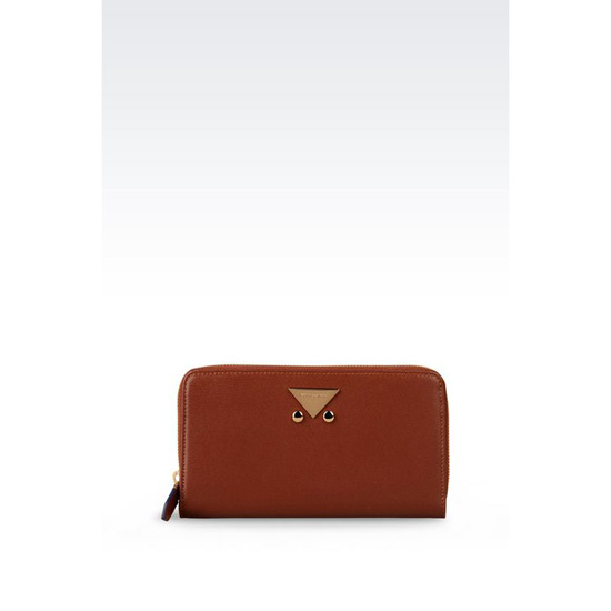 ARMANI ZIP AROUND WALLET IN BOARDED CALFSKIN Outlet Online