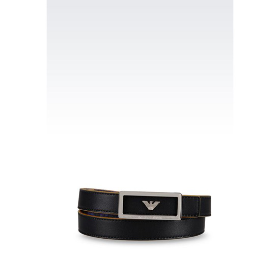 ARMANI REVERSIBLE BELT IN CALFSKIN AND LOGO PATTERNED PVC Outlet Online
