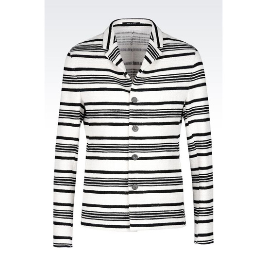 ARMANI RUNWAY JACKET IN STRIPED COTTON Outlet Online