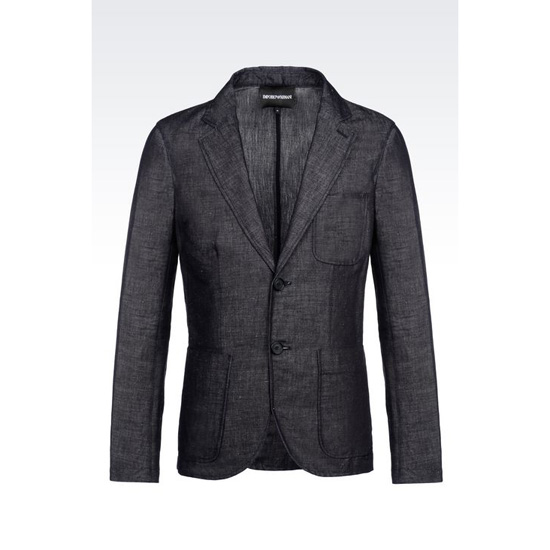 ARMANI DECONSTRUCTED JACKET IN DENIM EFFECT COTTON AND LINEN Outlet Online