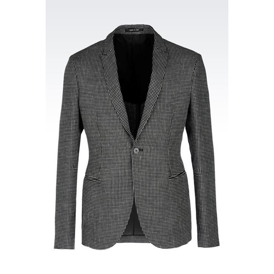 ARMANI JACKET IN OPTICAL PATTERN LINEN Outlet Online